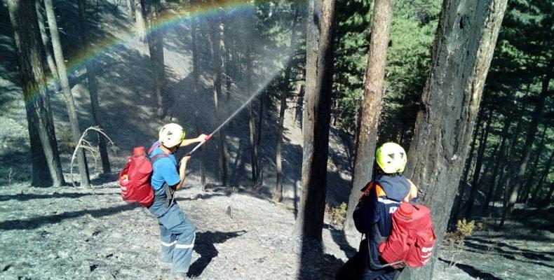 В ближайшее время спасатели ликвидируют пожар в ущелье Уч-Кош.